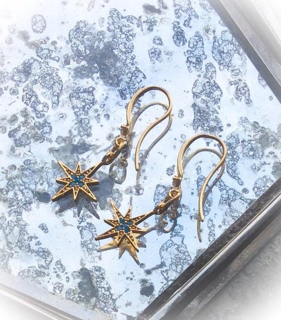 Gold and turquoise earrings, North Star earrings, 21st birthday gift, gold star jewellery, 14k matt gold earrings, starburst jewellery,