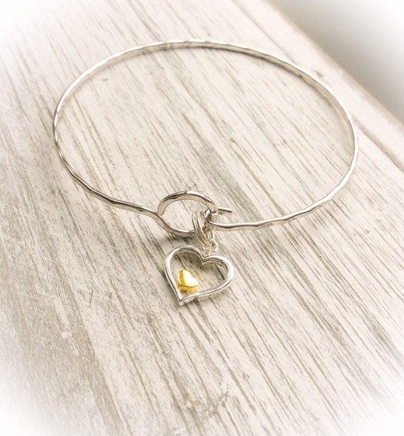Heart bangle, silver bangle, wedding jewellery, sterling silver, birthday gift for women, gold heart, anniversary gift