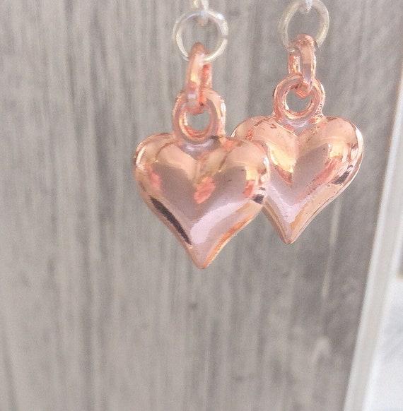 Earrings, rose gold heart earrings, romantic earrings, heart earrings, 40th birthday gifts for women, 50th birthday, gifts for her, mum gift