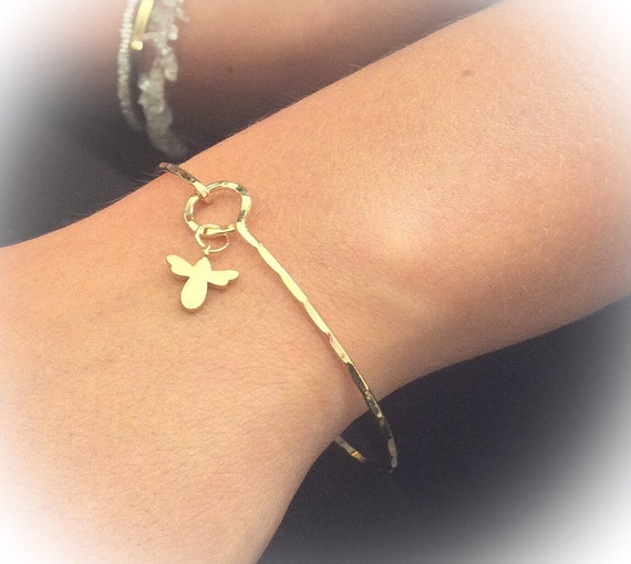 Bumble bee bangle, bee jewelry, skinny bracelet, insect jewellery, gold bee, silver modern bangle, christmas gift for her