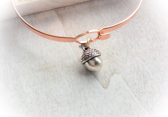 Rose gold bangle, stacking bangle, acorn bracelet, layering bracelet , gold bangle, anniversary gift, graduation gift,