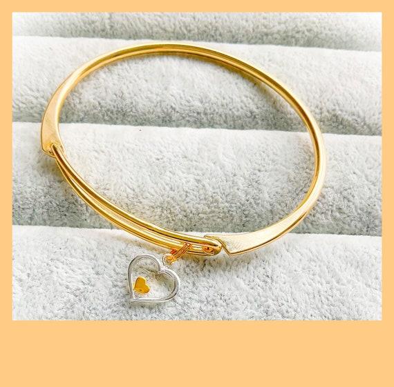 Heart bangle, contemporary bangles, everyday bangles, easy clasp bangles, anniversary bangle, love bangle, gold bangle, silver bangle,