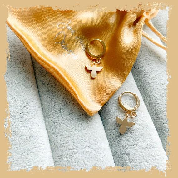 Bee earrings, thick hoop earrings, tiny hoops, gold huggie hoop earrings, gold bee hoops, bumble bee jewellery, birthday gift earrings