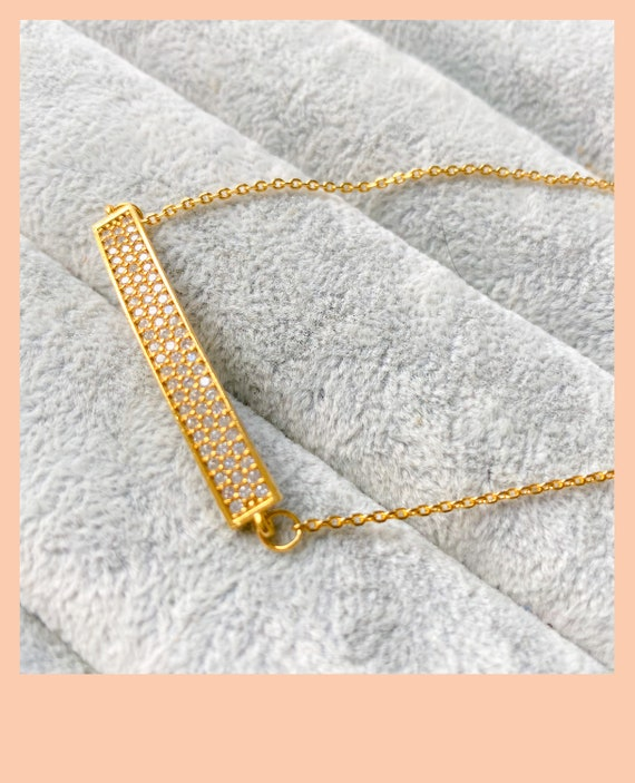 Gold rectangle necklace, bar necklace, layering necklace, gold necklace, rectangle pendant, birthday gift for mum, cubic zirconia stones