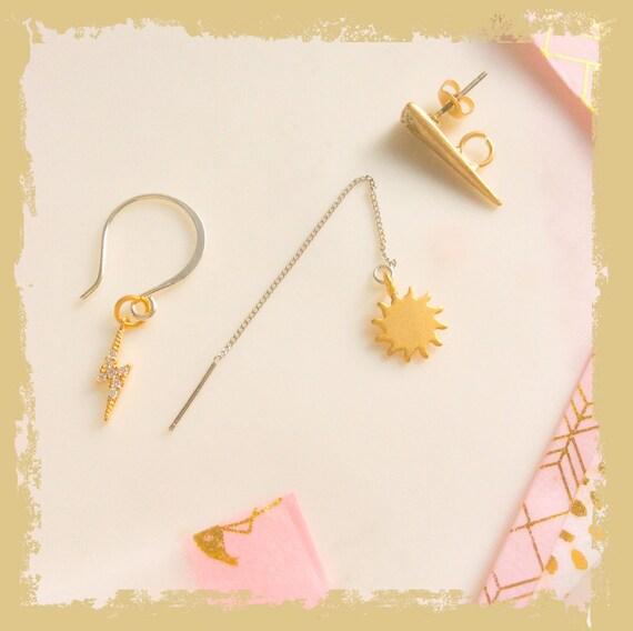 Gold earrings, triple piercing, mismatch earrings, gold threaders, sun earrings, thunderbolt earrings, triangle stud, multiple piercings