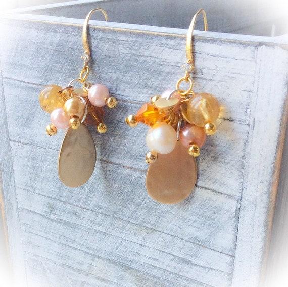 Gold Cluster earrings, summer earrings, statement earrings, pearl earrings, dangle earrings, wedding jewelry, holiday earrings