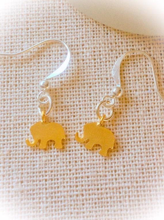 gold earrings for women, elephant jewelry, elephant earrings, elephant gift, new mom gift, birthday gift, gift for women, earring gift