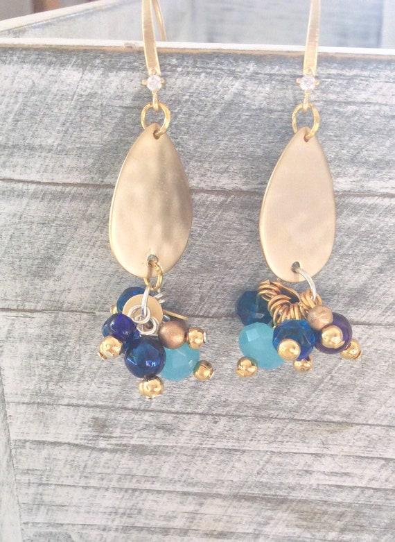 Cluster earrings, turquoise summer earrings, statement earrings, blue earrings, dangle earrings, wedding jewelry, something blue bride,