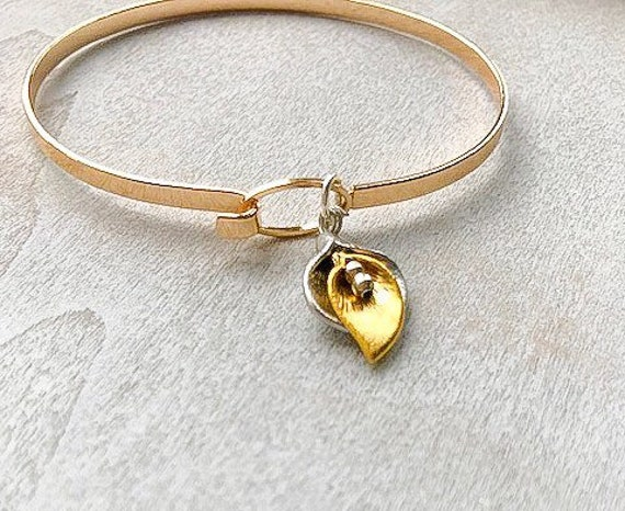 Gold bangles, anniversary gifts, skinny bangles, cala lily, women's gift, charm bracelet, gifts for her, 40th birthday, 30th birthday gift