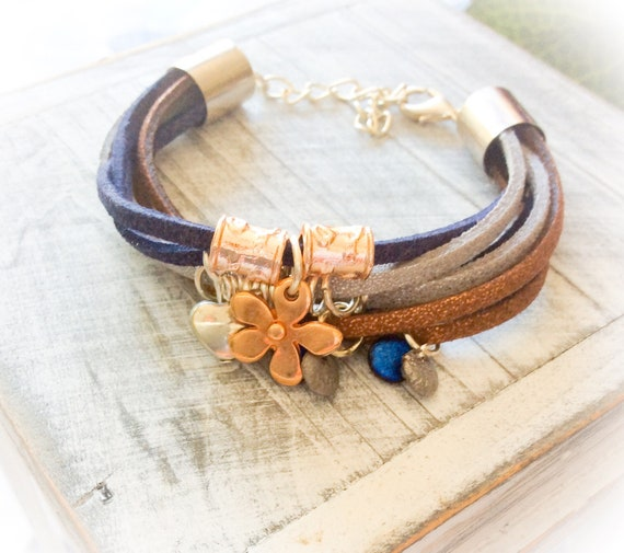 Suede bracelet, unique bracelet, boho leather bracelets, hippy style jewellery, gifts for teenagers, 16th birthday gift, festival jewellery