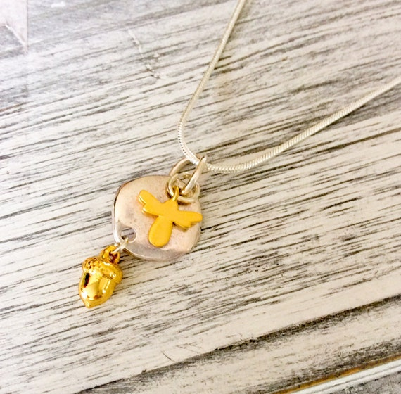 Acorn necklace, bee necklace, layering necklaces, gold bee pendant, acorn pendant, acorn jewelry, sterling silver, honey bee necklace, gifts