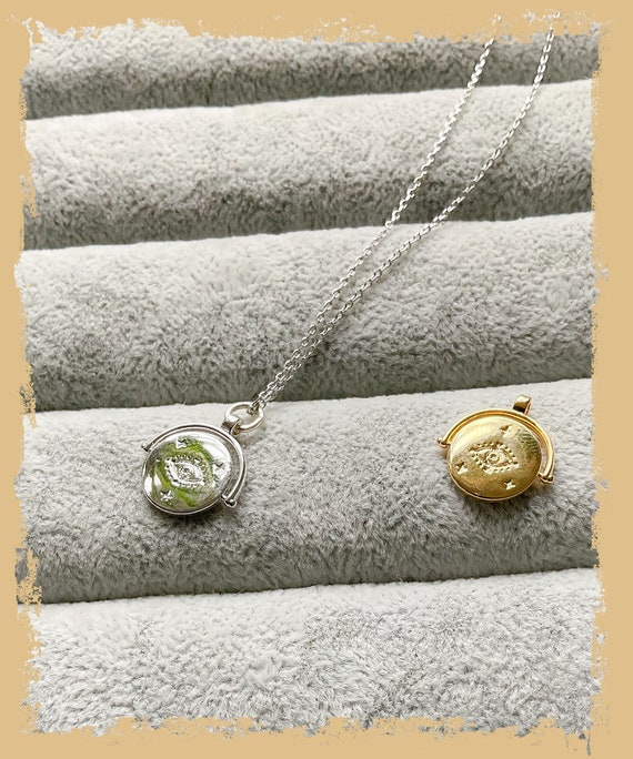 Gold Evil eye pendant, silver necklace, spiritual necklace, gold evil eye necklace, yoga Jewelry, evil eye jewellery, Buddhist necklace,