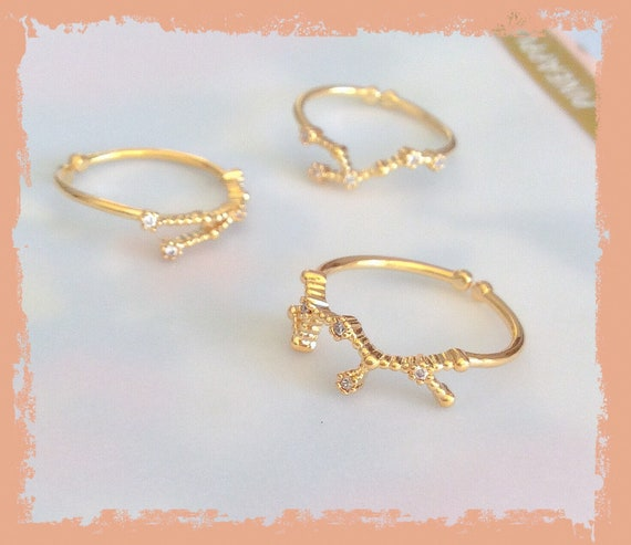 Constellation rings, astrology ring, zodiac ring, celestial jewelry, Leo ring, Astro ring, Birthday constellation, Stacking rings, gold ring