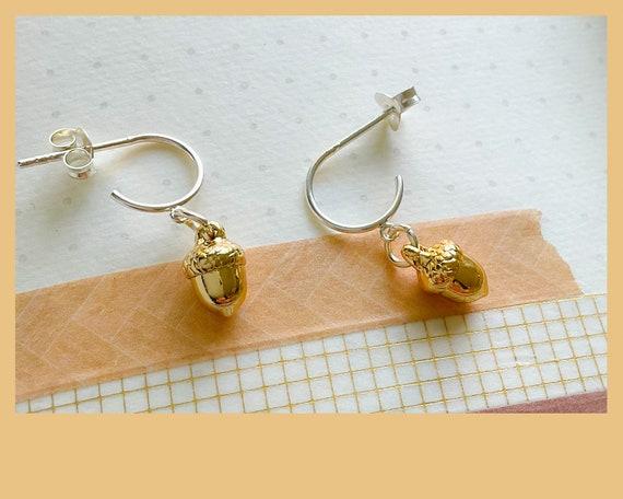 Gold acorn earrings, acorn hoop earrings, tiny acorn earrings, acorn jewelry, new beginnings jewellery, birthday acorn gift, nature gift