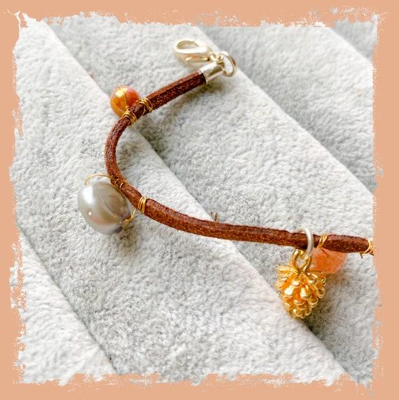 Suede bracelet, friendship bracelet, Summer bracelet, stacking bracelet, pine cone jewellery, beaded bracelet, gift for her,