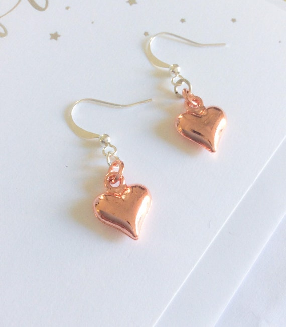 Earrings, rose gold heart earrings, romantic earrings, heart earrings, 40th birthday gifts for women, 50th birthday, gifts for her, mum gift