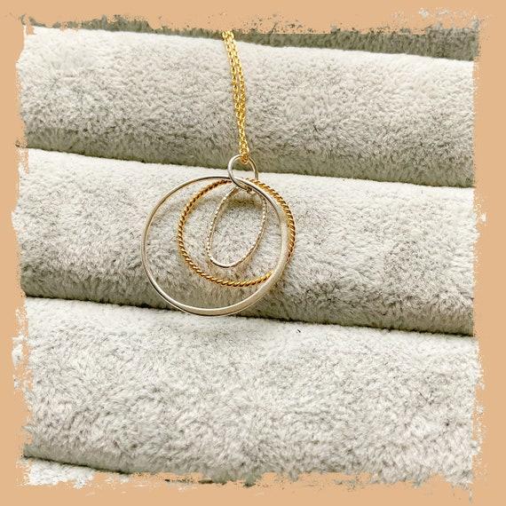 Circle necklace, eternity circle, multiple circle necklace, open circle, karma necklace, minimalist necklace, mum pendant,