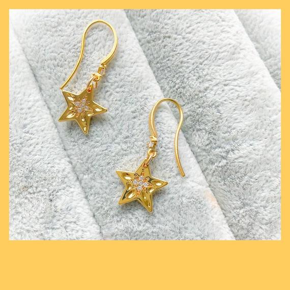 Gold star earrings, celestial earrings, cubic zirconia stars, summer gold earrings, star celestial earrings, 21st birthday gift for her