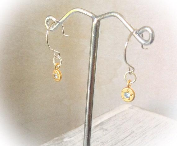 Aquamarine birthstone earrings, gold gemstone earrings, March birthstone, Dainty gold earrings, birthday gifts for her, gemstone jewellery,