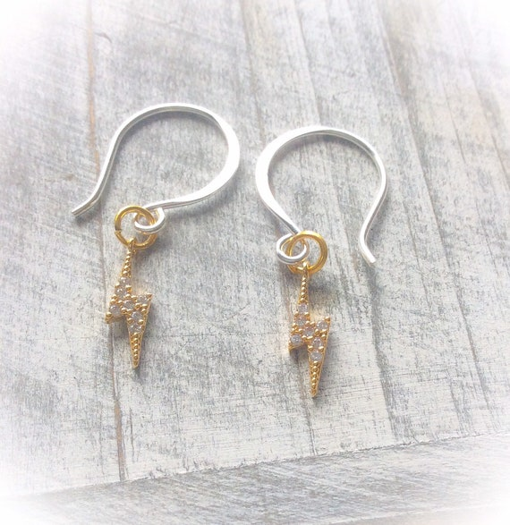 Lightning bolt earrings, sparkly earrings, bolt charm, sterling silver, gold lightning, gold earrings, lightning jewelry.