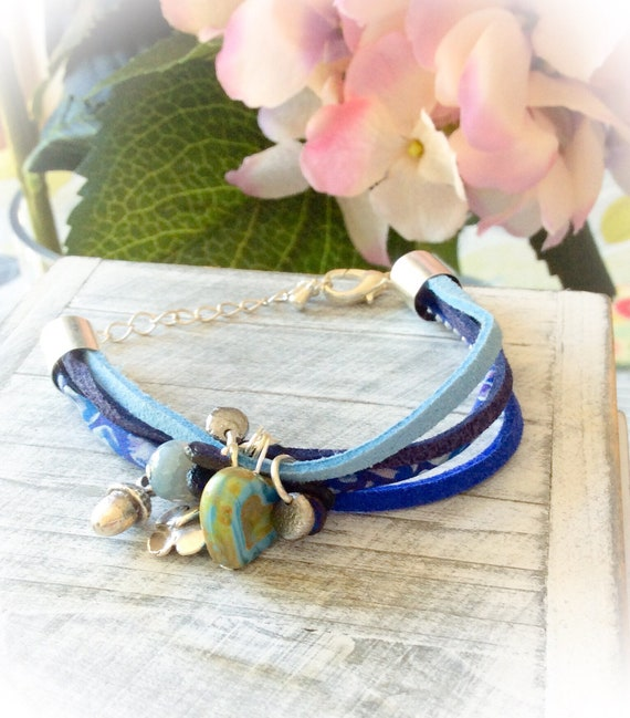 Suede bracelet, friendship bracelet, charm bracelet,  gifts for daughter, summer bracelet