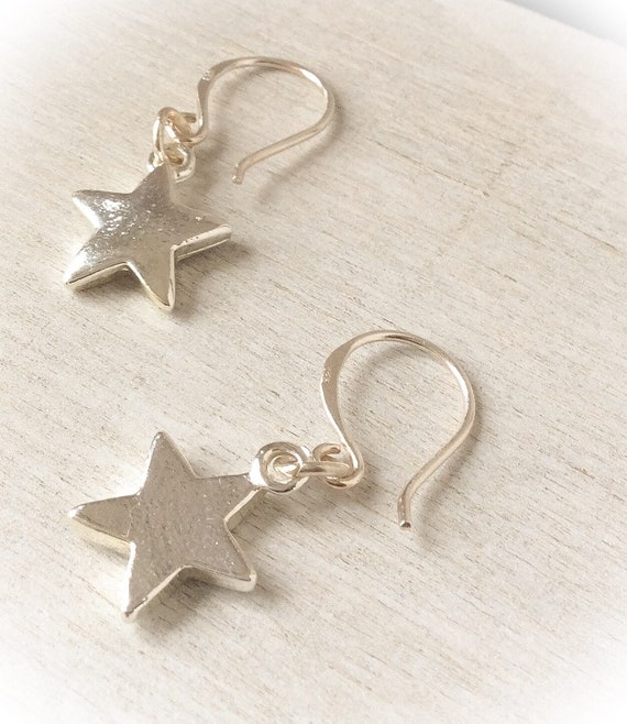 Silver star earrings, cosmic earrings, silver dangle earrings, everyday earrings, star jewellery, gifts for friends