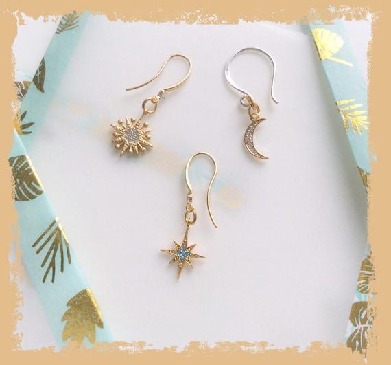 Gold star earring, triple piercing, mismatch earrings, Moon earrings, starburst earrings, ear party, multiple piercings, ear style