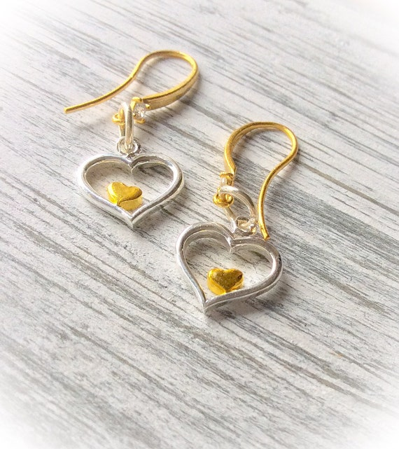 modern jewelry, gold and silver heart earrings, heart jewelry, bridesmaid gift, love earrings, wedding jewellery, gift for women,