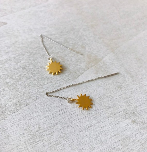Earring threaders, gold sun earrings, delicate jewellery, silver and gold, dangle earrings, gift for mum, everyday earrings, minimalist