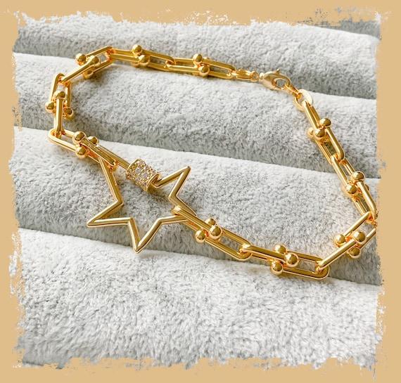 Gold chunky chain bracelet, chunky star bracelet, thick chain, gold star bracelet, Tiffany chain bracelet, diamanté star, gold statement