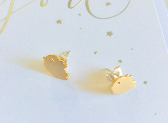 Gold bird stud earrings, tiny bird studs, everyday stud earriings, cute bird studs, girls studs, birthday earring stud gifts, gold stud bird