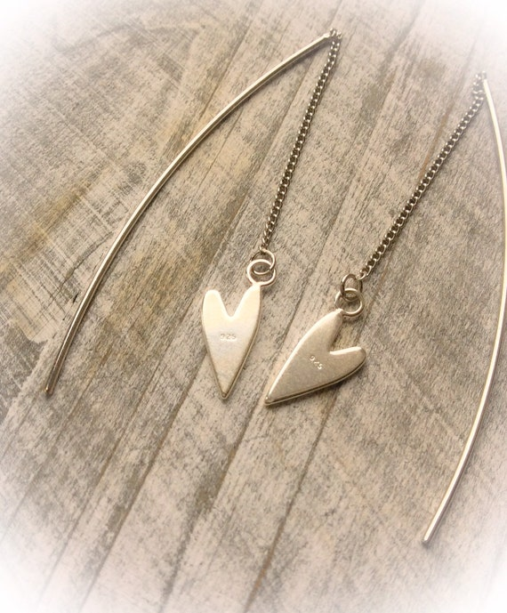 Silver threader earrings, pull through earrings, delicate earrings, heart threader, chain threader, long earrings, contemporary jewelry