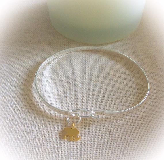Silver bangle, bridesmaid gift, bangle bracelet, skinny bangle, 21st birthday gift for her, graduation gift, elephant bangle