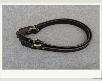 A Pair Dark Coffee Genuine Leahter and webbing Handles Straps for Purse, Long Ear Shaped Tail Leather Handles