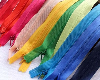 Nylon Zippers 10 PCS of 50cm / 20 inch Solid Length Zippers Pillow Nylon Zippers Invisible zipper , 17 Colors