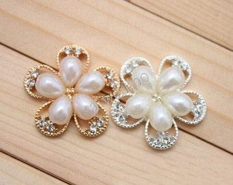 25mm Rhinestone Pearl Button , Flatback Button , Hair Flower ,DIY