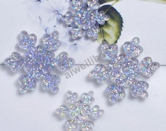 50 pcs Glitter Snowflake Cabochons,Embellishments,Decoden ,DIY ,Scrapbooking