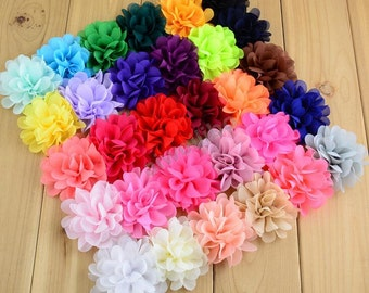 Chiffon Flower, Fabric Flowers, You Choose Color,DIY Craft For Baby Children Accessories H100049