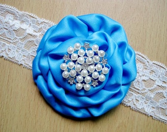 Rose Lace Flower Headband with Rhinestones and Pearl ,Newborn Headband Baby Headband
