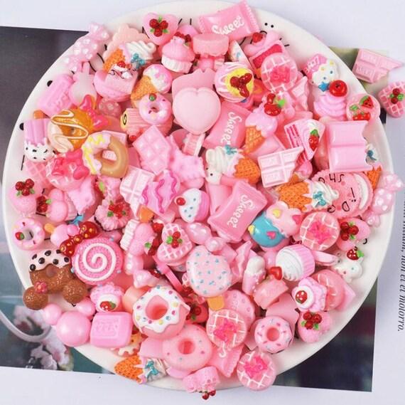 20Pcs Girls Sweets Candy Resin Flatback Kawaii Cabochons Decoden DIY Crafts