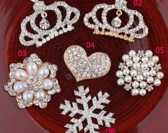 Pearl Rhinestone Button, Rhineston Button,Clear Rhinestone, Wholesale Button for headbands,Embellishment