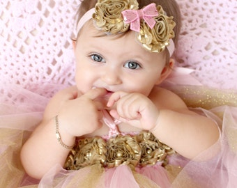 Gorgeous Pink and Gold Tutu Dress Shabby Chic Flower Tutu Dress for Baby Girl 6-18 Months First Birthday Pageant Dress