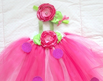 Beautiful Strawberry Shortcake Tutu Dress Costume for Baby Girl 6-18 Months Shopkins Strawberry First Birthday Baby Halloween Costume