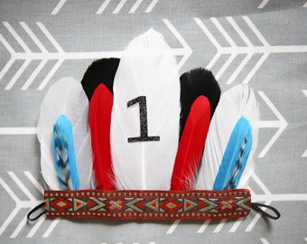 Adorable Aztec Red White Black Feather Headband Feather Headdress for Baby Boy 0-12 Months First Birthday Teepee Birthday Pow Wow Wild ONE