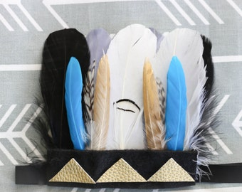 Adorable Aztec Black Gold Teal Feather Headband Feather Headdress for Baby Boy 0-12 Months First Birthday Teepee Birthday Pow Wow Wild ONE