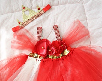 Beautiful Princess Elena Tutu Dress Costume with Red Hair Bow for Baby Girl 6-18 Months First Halloween Birthday Elena of Avalor
