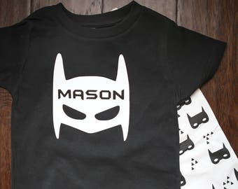 Adorable Personalized Batman Toddler Tshirt Black and White Batman Birthday Shirt Costume