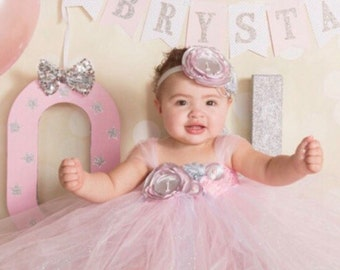 Gorgeous Beautiful Light Pink and Silver Gray Satin Shabby Chic Flower Tutu Dress for Baby Girl 6-18 Months old First Birthday