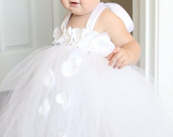 503846bd4 Gorgeous White Petal Flower Girl Tutu Dress for your 6-18 Months Baby Girl  First Birthday