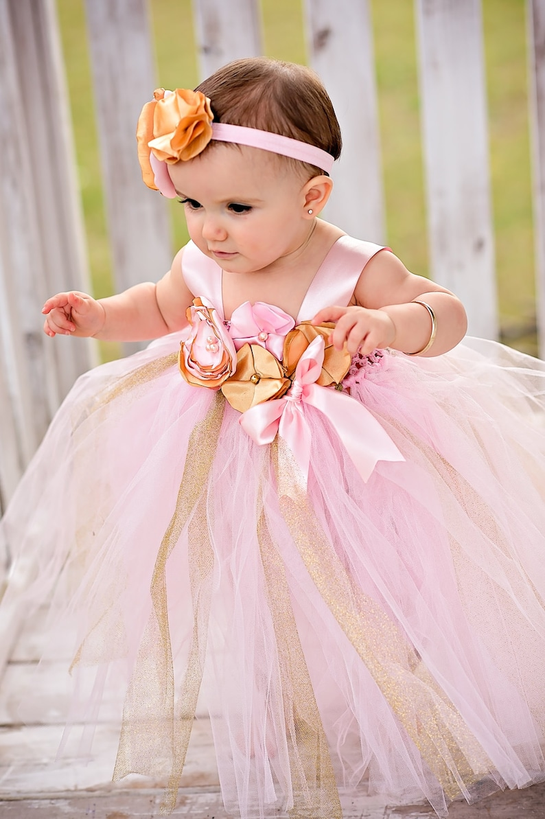 25dbc438ae480 Gorgeous Pink Gold Tutu Dress Pink Gold Satin Flower for Baby   Etsy
